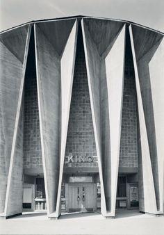 Cinema ca 1966 in Kongsberg Norway by Ørnulf Ljøterud Erik Ødegård Architecture Minecraft, Architecture Origami, Cinema Architecture, Concrete Architecture, Futuristic Architecture, Amazing Architecture, Landscape Architecture, Berkeley Architecture, Angular Architecture