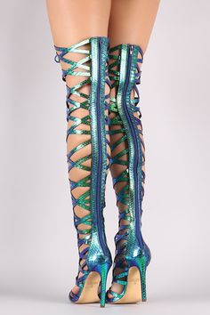 dbd9b6e2317e Holographic Snakeskin Strappy Open Toe Lace-Up Gladiator Heel