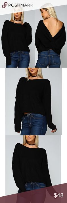 HILDEE Round Neck Ribbed Sweater - BLACK Round Neck Ribbed Sweater.   Fabric 80% ACRYLIC 20% COTTON   AVAILABLE IN MAUVE, BLACK AND LIGHT GREY (looks white)   NO TRADE, PRICE FIRM Bellanblue Tops Tees - Long Sleeve
