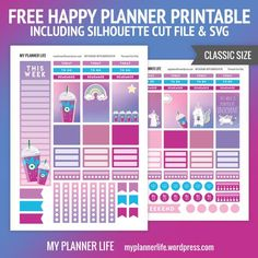 Free Printable Unicorn Frappe Planner Stickers from My Planner Life To Do Planner, Free Planner, Planner Pages, Happy Planner, Planner Ideas, Planner Inserts, Disney Planner, 2017 Planner, Planner Diy