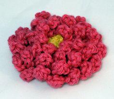 Chrysanthemum crocheted flower by hamburke pink and yellow