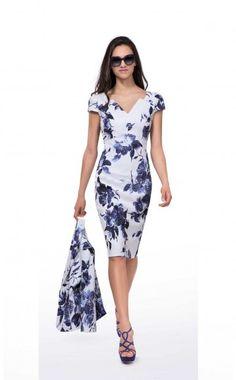 73e9ae35ef Michaela Louisa 8465, Blue & Ivory Floral Print Dress & Navy Jacket. Ladies  occasion