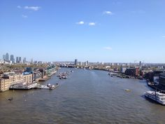 The Thames River from the Tower Bridge walkway! Pointing south.