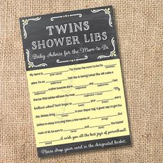 Chalkboard Yellow and Gray TWINS - Printable Twins Baby Shower Mad Libs Advice for the Mom-to-Be - INSTANT DOWNLOAD on Etsy, $8.00