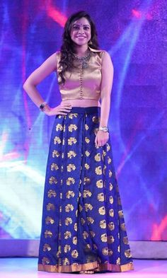 The popular Sumona Chakravarti blue Bollywood designer lehenga is a limited edition. Make it yours instantly. Lehenga Choli, Anarkali, Brocade Lehenga, Sarees, Robes Western, Western Dresses, Indian Dresses, Indian Outfits, Skirts