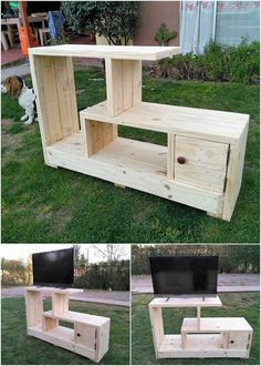 Give a look at this excellent creation of the media table TV stand furniture design where the superb use of the wood pallet is the main attraction of the whole creation project. This furniture design is added with the shelving variations that looks so cla Pallet Furniture Tv Stand, Pallet Tv Stands, Pallet Furniture Designs, Furniture Projects, Wood Furniture, Furniture Making, Diy Pallet Projects, Woodworking Projects Diy, Woodworking Plans
