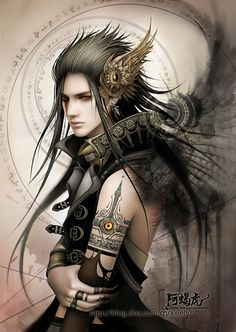 Fantasy Men with Long Hair | Anime+boy+with+black+hair+and+gold+eyes