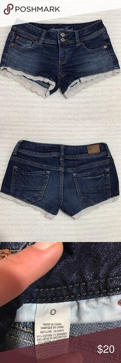 """American Eagle Eyelet Lace Trim Denim Shorts American Eagle Eyelet Lace Trim Denim Shorts. Size 0. 2"""" in approx. American Eagle Outfitters Shorts Jean Shorts"""