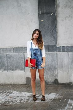 Dulceida: DENIM overall and leopard flats - transition to Fall wear