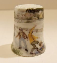 LOT OF 2 Vintage Winter Sports Themed Thimbles, one Ice Skating, One Ice Hockey