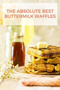 Your search for the most perfect buttermilk waffles recipe is over! This easy waffle recipe will become your new brunch favorite. These classic buttermilk waffles are crisp yet fluffy and tender. #buttermilkwaffles #buttermilkwafflesfromscratch #bestwafflerecipe #buttermilkwafflesrecipeeasy Best Waffle Recipe, Waffle Recipes, Best Brunch Recipes, Quiche Recipes, Mini Breakfast Quiche, Breakfast Tea, Breakfast At Tiffanys, Breakfast Dishes, Buttermilk Waffles