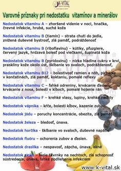 príznaky pri nedostaku - My site Beauty Detox, Kraut, Vitamins And Minerals, Herbalife, Good Advice, Healthy Lifestyle, Food And Drink, Health Fitness, Aloe Vera