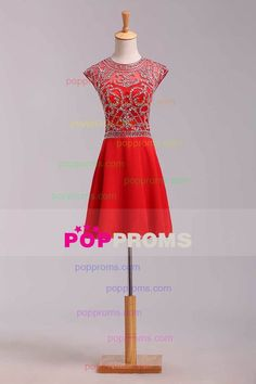 2016 Unique Homecoming Dresses A Line Scoop Short/Mini With Beadings Chiffon US$ 159.99 PPP68251CZ - PopProms.com for mobile