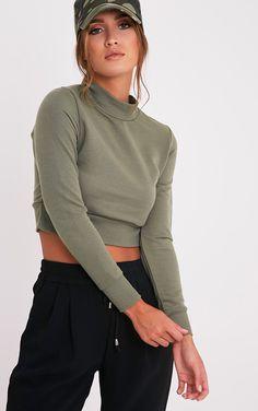 2800adba3783cc Emiliana Olive Crop Sweatshirt
