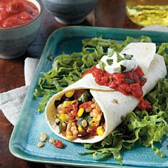 Barley, Black Bean, and Corn Burritos  Leave off sour cream and use Daiya pepperjack for the cheese.