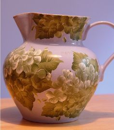 My Handpainted Sage Green Hydrangeas on a Periwinkle Blue Clay Vase