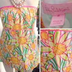 Lilly Pulitzer pink, yellow, & green strapless top Lilly Pulitzer pink, yellow, & green strapless top. Size 8. GUC. Lilly Pulitzer Tops