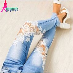 Barato 2015 sexy recorte de renda retalhos finos jeans skinny grátis frete, Compro Qualidade Jeans diretamente de fornecedores da China: Tamanho Cintura Quadris Calças comprimento S 66 82-86 94 M