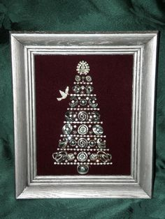 Framed Vintage Jewelry Christmas Tree Original Art Sleek Modern Silvertone