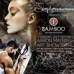 Aaron Maybin Art Show at Bamboo Miami Beach:: w/ music by DJ Efeezy — at Bamboo Miami Beach. Miami Beach, Dj, Bamboo, Music, Movie Posters, Musica, Musik, Film Poster, Popcorn Posters