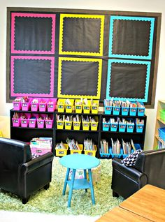 "This ""black & brights"" classroom is amazing! Super organized with great ideas for bulletin boards & spaces :)"