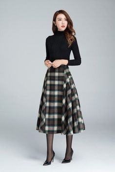 plaid skirtgrid skirt wool skirt winter skirt pleated