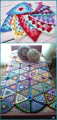 Crochet Granny Triangle Afghan Blanket Free Pattern - Crochet Crochet Summer Blanket Free Patterns by Sharon Williamson Crochet Triangle, Granny Square Crochet Pattern, Afghan Crochet Patterns, Crochet Squares, Crochet Granny, Baby Blanket Crochet, Crochet Baby, Crochet Summer, Afghan Blanket