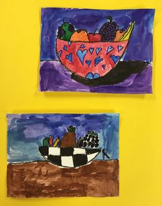 Elements of the Art Room: 2nd grade Paul Cezanne inspired Fruit bowls Fruit Art Kids, Fruit Bowls, Paul Cezanne, French Artists, Apple Pie, Inspired, Artwork, Projects, Room