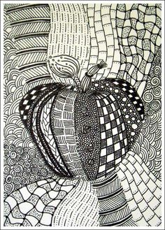 Line Art Projects | Apple Line Art Project | teen center art