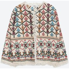 Zara Embroidered Jacket (535 BRL) ❤ liked on Polyvore featuring outerwear, jackets, multicoloured, multi colored jacket, zara jacket, colorful jackets, pink jacket and multi color jacket
