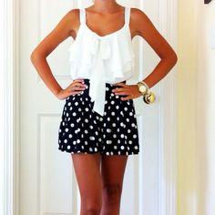 White Ruffle Top and Polka Dot Shorts