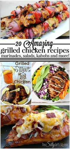 20 Amazing Grilled Chicken Recipes, from marinades and salads to kabobs, we've got you covered! - ThisSillyGirlsLife.com #grilledchicken #chickenmarinade