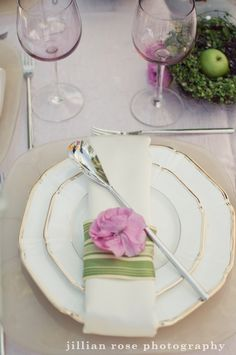 pink and green place setting, wedding