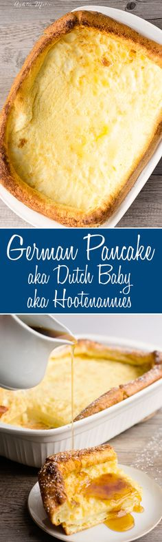 German pancakes - it doesn't get much better than this German Pancake Recipe! Top with fresh lemons and powdered sugar, berries and coulis, apple pie filling, maple syrup, lemon syrup...