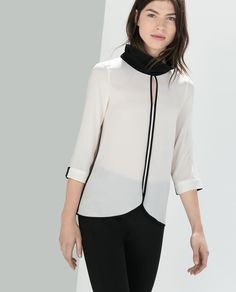 BLOUSE WITH HIGH COLLAR-Shirts-Woman-COLLECTION SS15 | ZARA United States