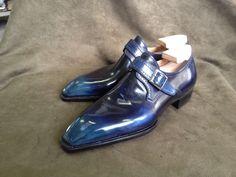 Freccia Bestetti - MTO,model Can buckle, French calf leather, antique blue on Perfetta last, for a Greek customer.