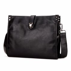 Latest Fashion Solid Black Men Messenger Bag Theft proof Snap-fastener Bag