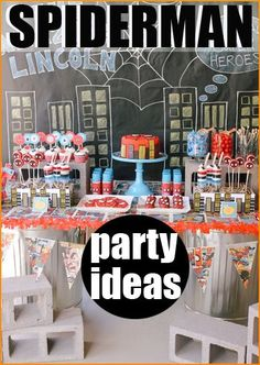 "Spider-Man Party Ideas. Web-tastic ideas for a superhero party. Creative food, desserts and party favors of your ""favorite neighborhood Spider-Man!"" Perfect for a boy birthday party."