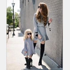 Mom and me Dress Spring Summer Europe and America Solid Color Mother daughter dress Flare Sleeve Dress Family Matching Outfits - The Matching Store Mother Daughter Fashion, Mother Daughter Matching Outfits, Matching Family Outfits, Mother Daughters, Daddy Daughter, Mother Son, Baby Outfits, Mommy And Me Outfits, Mom Dress