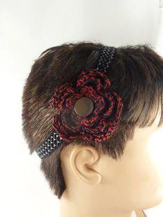 Gothic Headband Black and Red Crochet Flower in by ToppyToppyKnits, $12.00