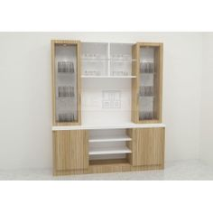 Contemporary crockery unit with glass and wooden door cabinets. Made up of plywood with laminate finish. The sleek structure cabinets offering ample storage space lets user to display and store essentials in an organized manner. The cabinets, drawers, and racks offers commodius space for fitting in crockeries. This unit can fit either in dining space or kitchen.