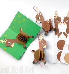 DIY Easy paper Rudolph bauble ornament // Egyszerű papír gömb rénszarvasok (nyomtatható sablon) // Mindy - craft tutorial collection // #crafts #DIY #craftTutorial #tutorial Pop Up Christmas Cards, Christmas Craft Fair, Paper Christmas Ornaments, Christmas Card Template, Christmas Sewing, Pop Up Cards, Kids Christmas, Spring Crafts For Kids, Paper Crafts For Kids
