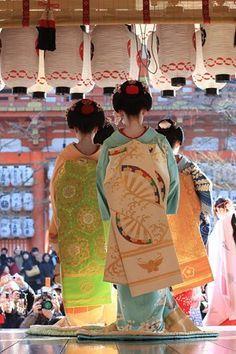 Obi hanging behind kimono