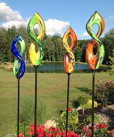 Another great find on #zulily! Glass Spiral Garden Stakes - Set of Four #zulilyfinds