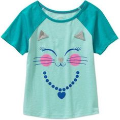 365 Kids from Garanimals Girls' Short Sleeve Baseball Tee, Girl's, Size: 6, Blue
