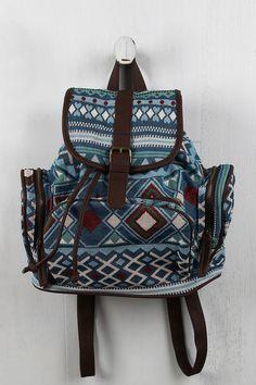 Geo Buckle Strap Zip Pocket Backpack