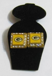 Green Bay Packers Square Stud Earrings with Rhinestones Packers Gear, Green Bay Packers, Drink Sleeves, Rhinestones, Stud Earrings, Stud Earring, Earring Studs, Gems
