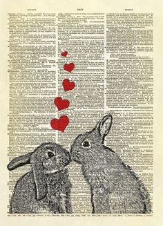 Kissing Bunnies in Love Dictionary Art Print