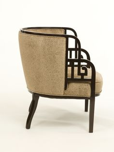 """James Mont Asian motif carved arm chair in ebonzied finish. Newly upholstered. 19.25"""" - Seat depth 14.25"""" - Seat height"""