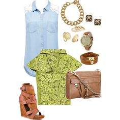 """""""Chartreuse and Chambray"""" by anna-fannin on Polyvore"""